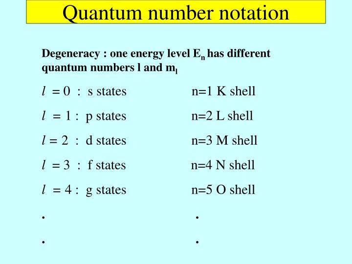 Quantum number notation