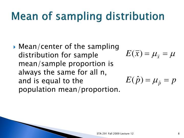 Mean of sampling distribution