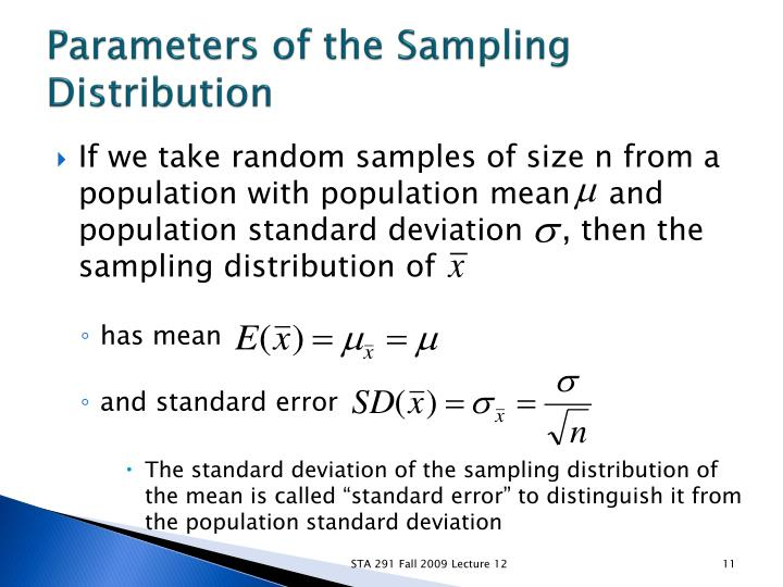 Parameters of the Sampling Distribution