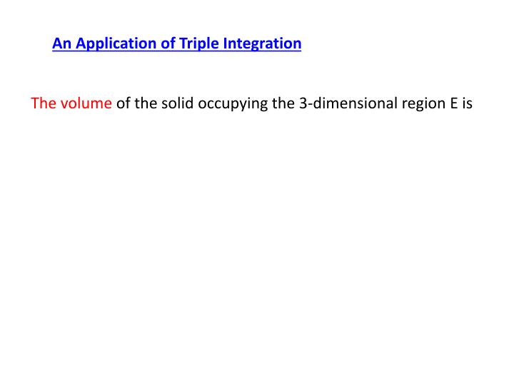 An Application of Triple Integration