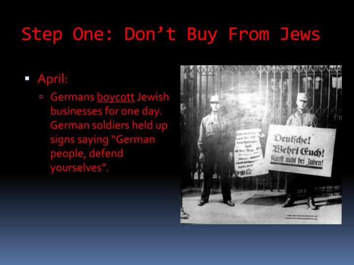Step One: Don't Buy From Jews