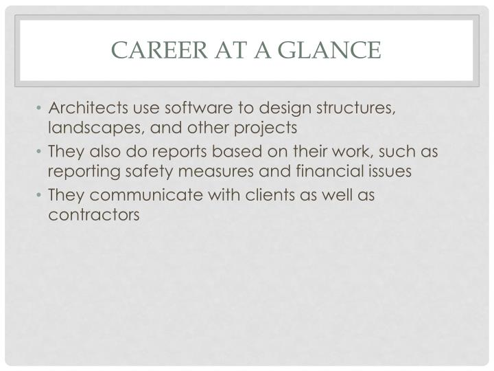Career at a glance