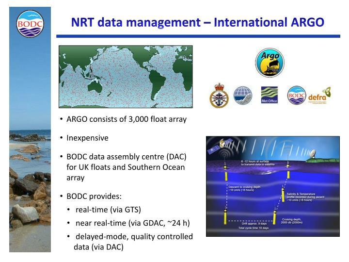 NRT data management – International ARGO