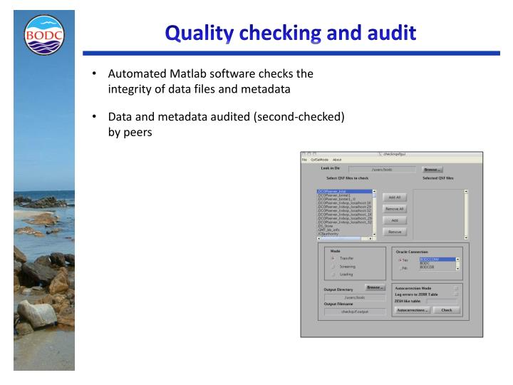 Quality checking and audit