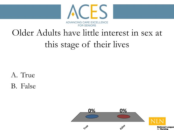 Older Adults have little interest in sex at this stage of their lives
