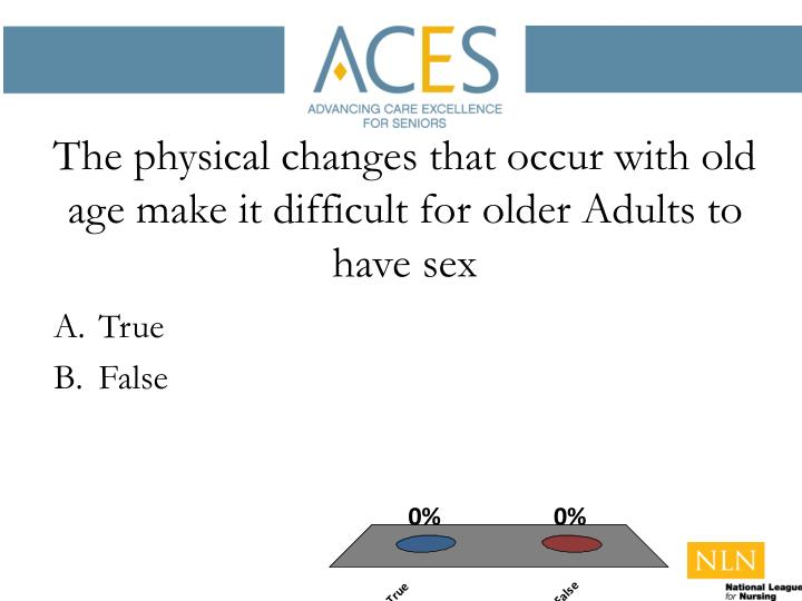 The physical changes that occur with old age make it difficult for older Adults to have sex