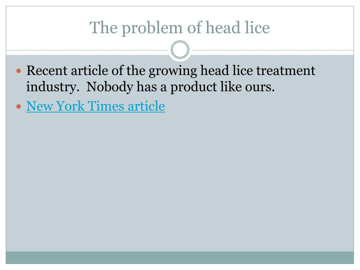 The problem of head lice