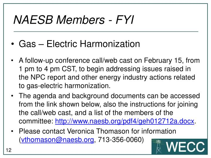 NAESB Members - FYI