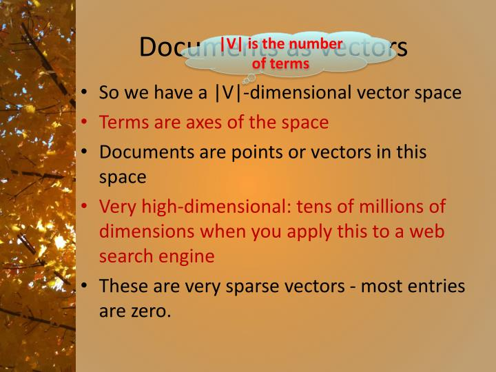 Documents as vectors
