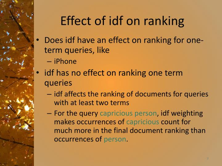 Effect of idf on ranking