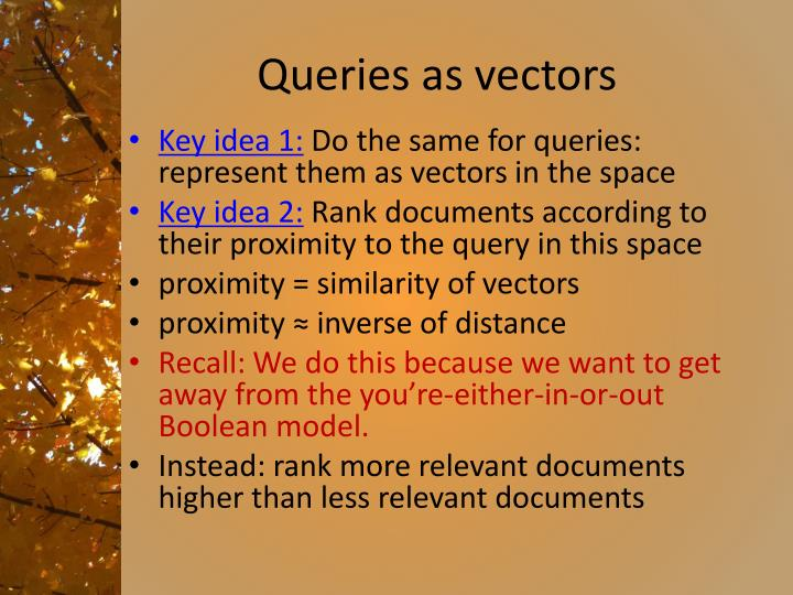 Queries as vectors