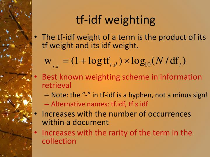 tf-idf weighting