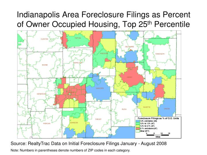 Indianapolis Area Foreclosure Filings as Percent of Owner Occupied Housing, Top 25