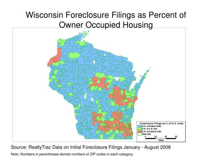 Wisconsin Foreclosure Filings as Percent of