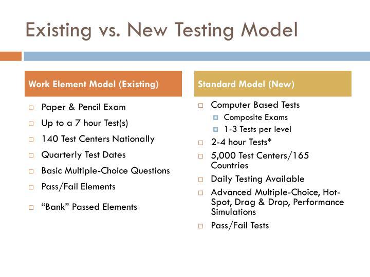 Existing vs. New Testing Model
