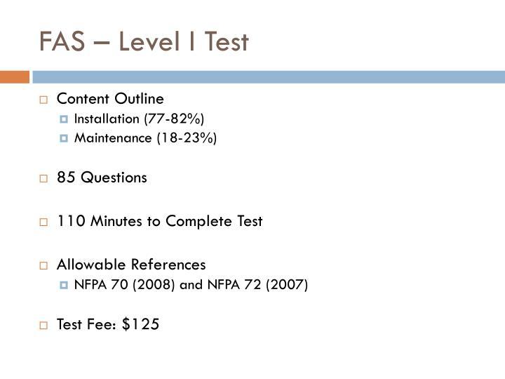 FAS – Level I Test