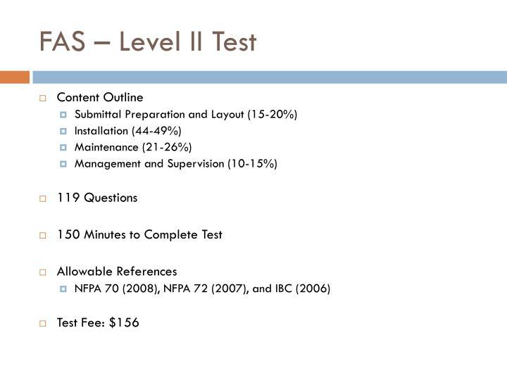 FAS – Level II Test