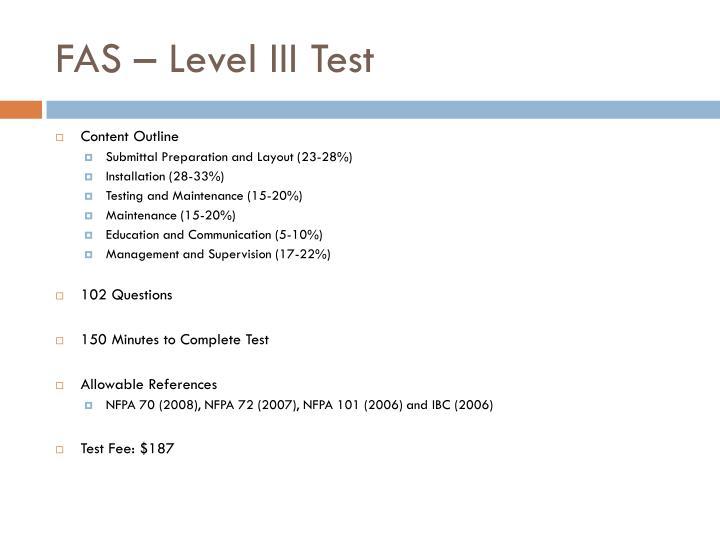 FAS – Level III Test