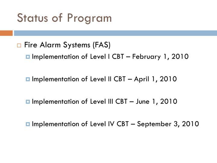 Status of Program