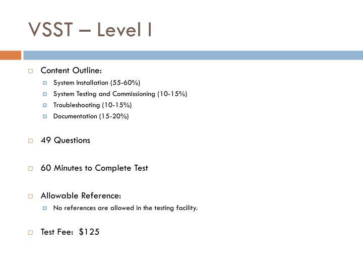 VSST – Level I