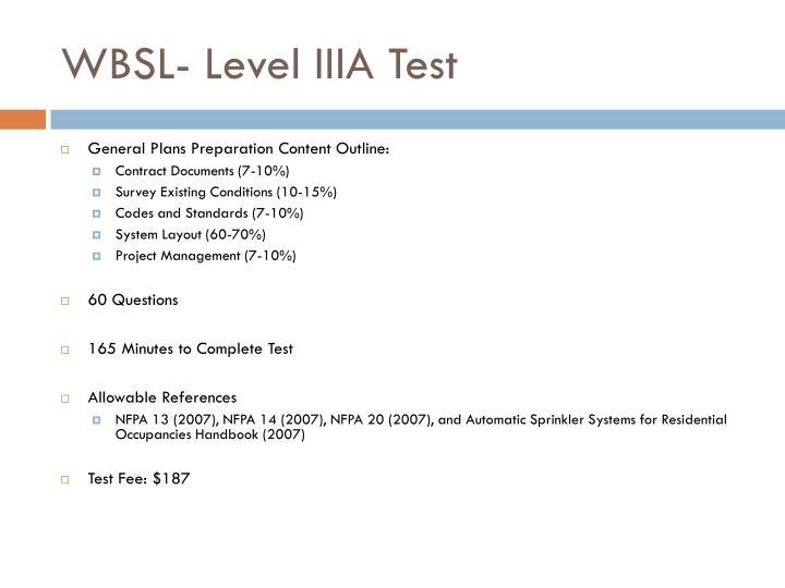 WBSL- Level IIIA Test