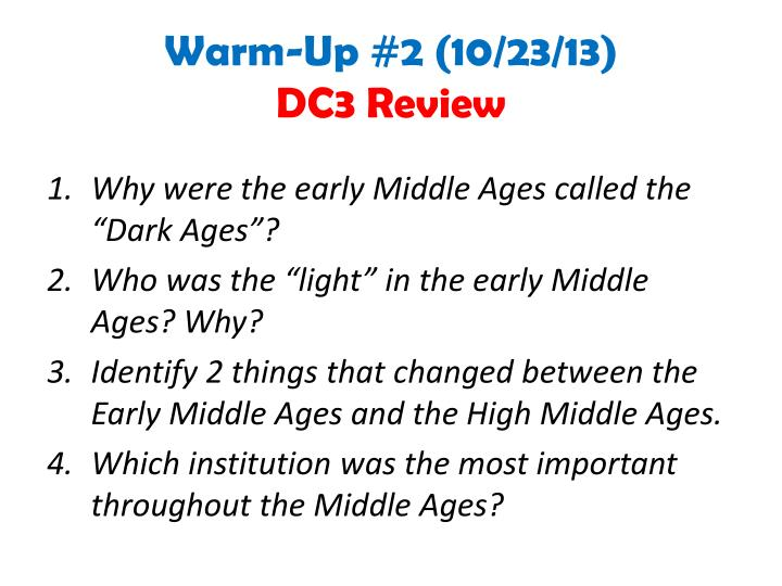 Warm up 2 10 23 13 dc3 review
