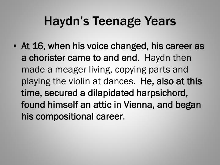 Haydn's Teenage Years