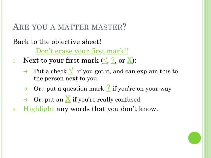Are you a matter master?