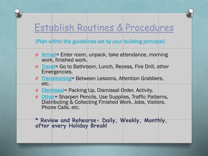 Establish Routines & Procedures