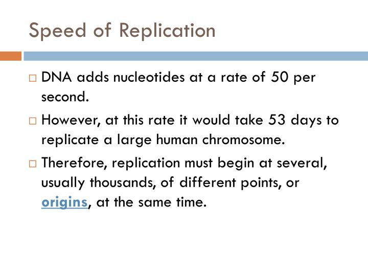 Speed of Replication