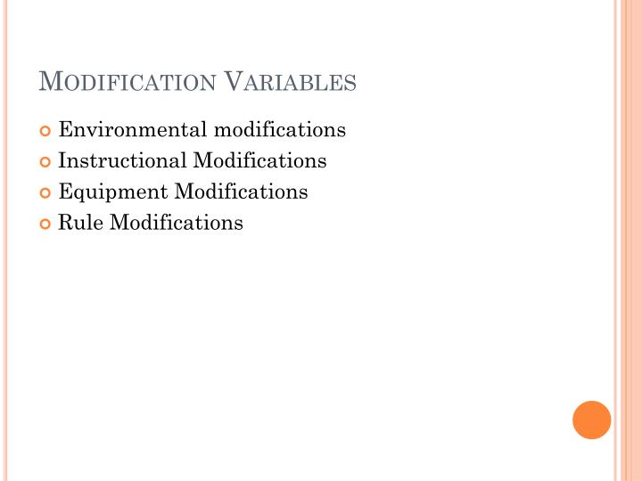 Modification Variables