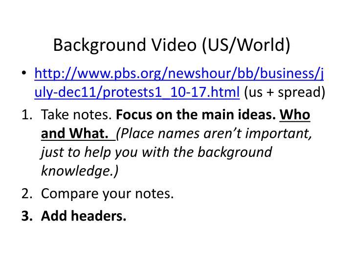 Background Video (US/World)