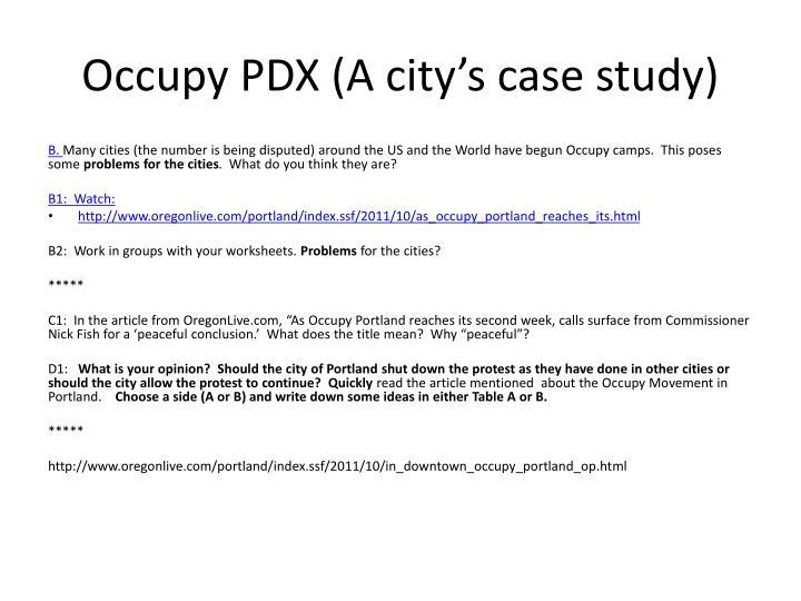 Occupy PDX (A city's case study)