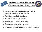 occupational hearing conservation program