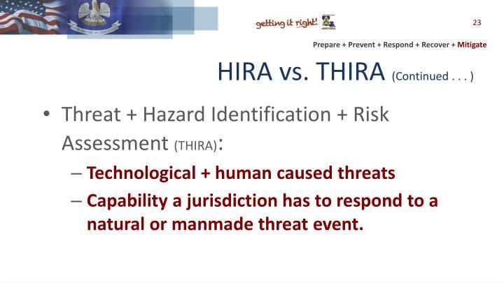 HIRA vs. THIRA