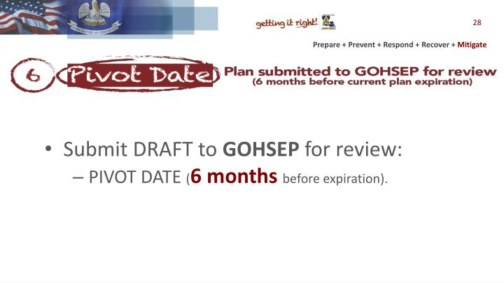 Submit DRAFT to