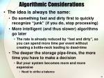 algorithmic considerations