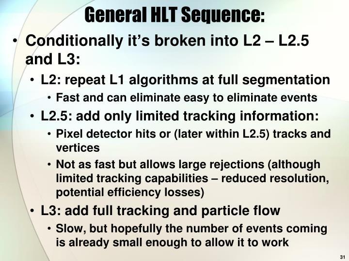 General HLT Sequence: