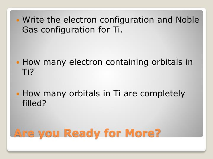 Write the electron configuration and Noble Gas configuration for Ti.