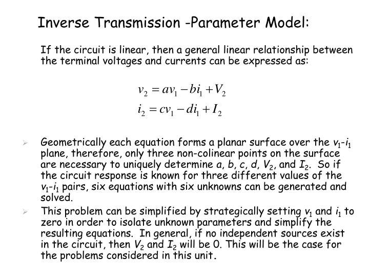 Inverse Transmission -Parameter Model: