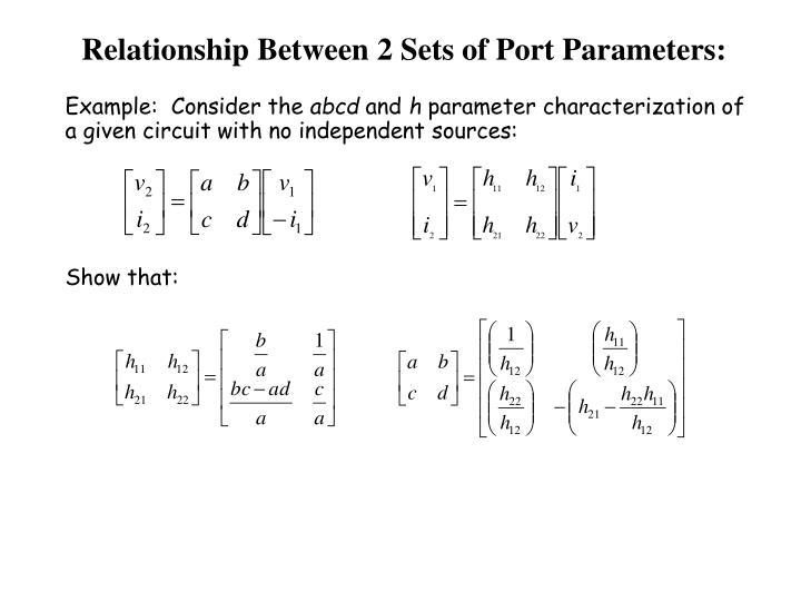 Relationship Between 2 Sets of Port Parameters: