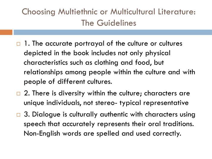 Choosing Multiethnic or Multicultural Literature:
