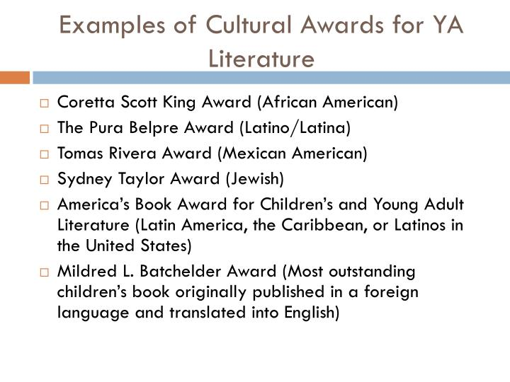 Examples of Cultural Awards for YA Literature