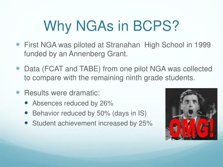 Why NGAs in BCPS?