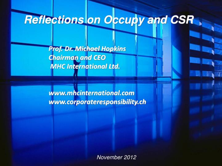 Reflections on Occupy and CSR