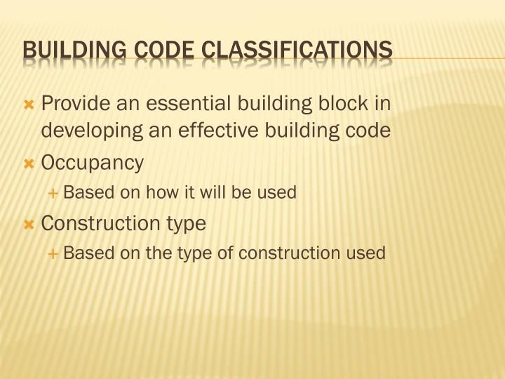 Building code classifications