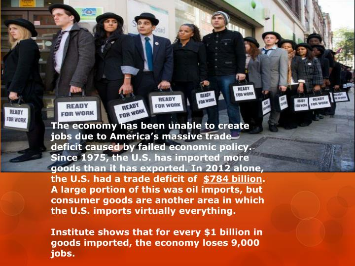 The economy has been unable to create jobs due to America's massive trade deficit caused by failed economic