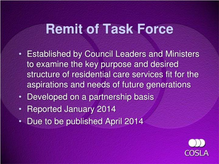 Remit of Task Force