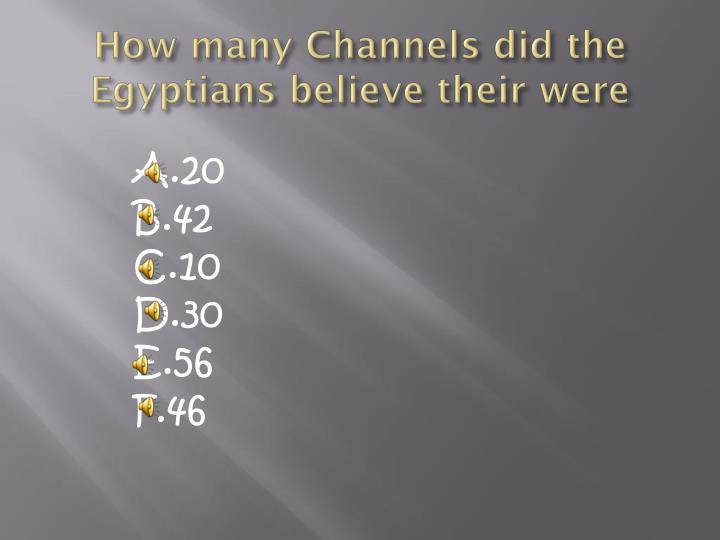 How many Channels did the Egyptians believe their were