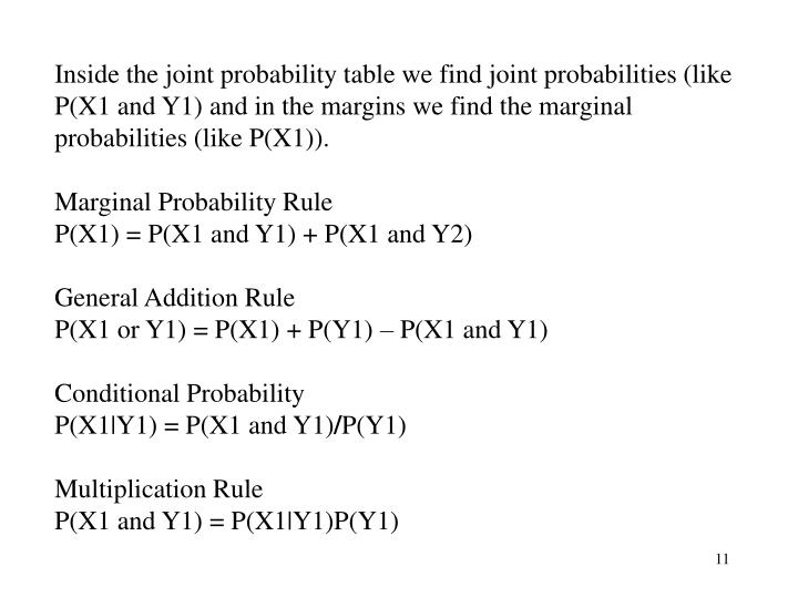 Inside the joint probability table we find joint probabilities (like P(X1 and Y1) and in the margins we find the marginal probabilities (like P(X1)).